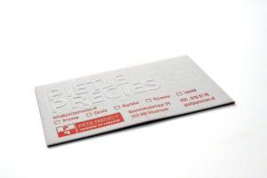visitekaartje pregen letterpress
